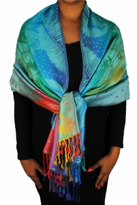 Rainbow Silky Tropical Feather Pashmina Wrap Shawl Scarf (Teal)