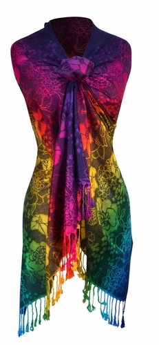 Rainbow Silky Tropical Hibiscus Floral Pashmina Wrap Shawl Scarf (Dark Navy)