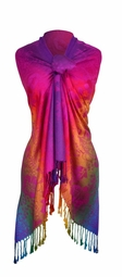 Rainbow Silky Tropical Hibiscus Floral Pashmina Wrap Shawl Scarf (Hot Pink)