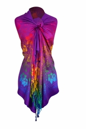 Rainbow Silky Tropical Hibiscus Floral Pashmina Wrap Shawl Scarf (Purple)