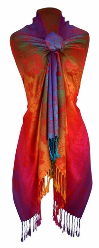 Rainbow Silky Tropical Hibiscus Floral Pashmina Wrap Shawl Scarf (Red/Orange)
