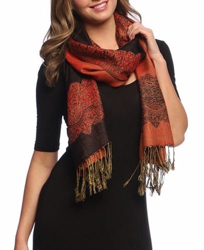 Ravishing Reversible Pashmina Shawl with Braided Fringe (Black/Red)