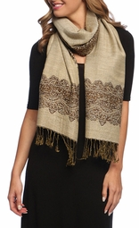 Ravishing Reversible Pashmina Shawl with Braided Fringe (Chocolate/Tan)