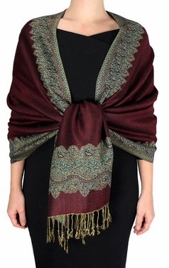 Ravishing Reversible Pashmina Shawl with Braided Fringe (Cranberry Red/Dark Gold)