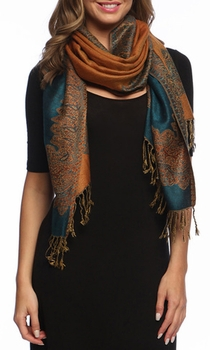 Ravishing Reversible Pashmina Shawl with Braided Fringe (Dark Teal/Gold)