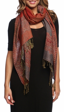 Ravishing Reversible Pashmina Shawl with Braided Fringe (Grey/Red)