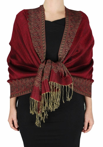 Ravishing Reversible Pashmina Shawl with Braided Fringe (Maroon)