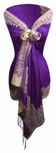 Ravishing Reversible Pashmina Shawl with Braided Fringe (Purple/Light Gold)
