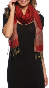 Ravishing Reversible Pashmina Shawl with Braided Fringe (Red/Light Gold)
