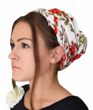 Red Floral Print Head Scarf