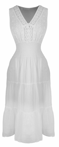Renaissance 100% Cotton Embroidered Sleeveless Gypsy Tank Dress (Button White)