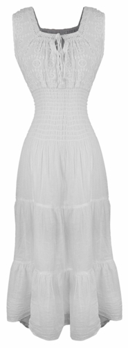 Renaissance 100% Cotton Embroidered Sleeveless Gypsy Tank Dress (Keyhole White)