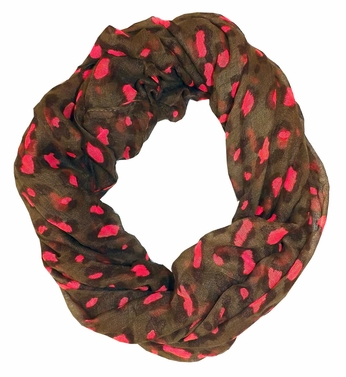Retro Animal Print Loop Scarf (Brown/Pink)