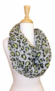 Retro Animal Print Loop Scarf (Grey/Neon)