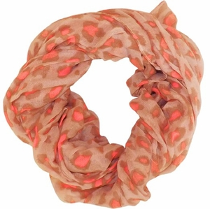 Retro Animal Print Loop Scarf (Peach/Pink)