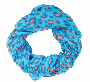 Retro Animal Print Loop Scarf (Turquoise/Pink)