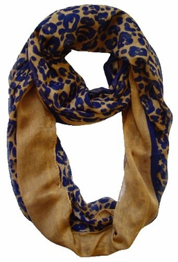 Retro Neon Animal Print Infinity Loop Scarf (Brown/Navy)