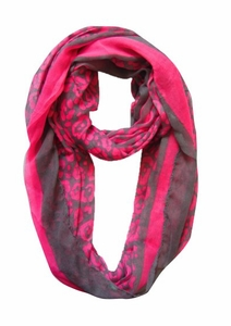 Retro Neon Animal Print Infinity Loop Scarf (Fuchsia)
