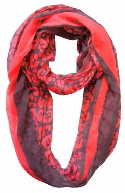 Retro Neon Animal Print Infinity Loop Scarf (Hot Pink)