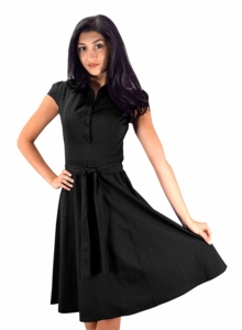 Retro Style 100% Cotton Button Up Tea Party Swing Vintage Dress Fabric Belt (Black)