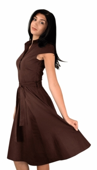 Retro Style 100% Cotton Button Up Tea Party Swing Vintage Dress Fabric Belt (Brown)