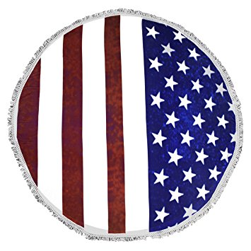 Roundie Beach Towel Yoga Mats Thick Terry Cotton with Fringe Tassels - American Flag