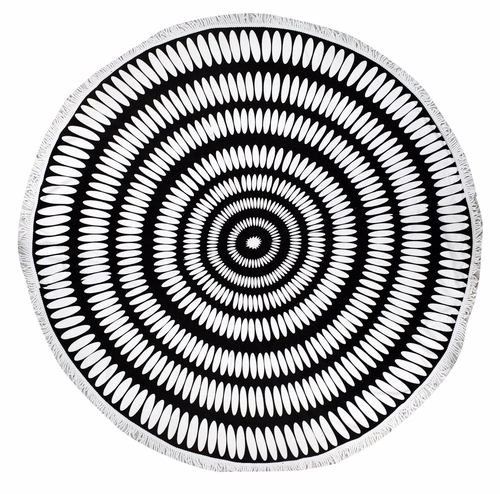 Roundie Beach Towel Yoga Mats Thick Terry Cotton with Fringe Tassels - Black