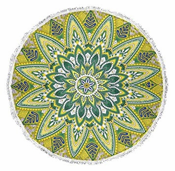 Roundie Beach Towel Yoga Mats Thick Terry Cotton with Fringe Tassels - Green