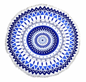 Roundie Beach Towel Yoga Mats Thick Terry Cotton with Fringe Tassels - Navy Blue