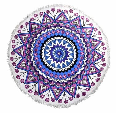 Roundie Beach Towel Yoga Mats Thick Terry Cotton with Fringe Tassels - Pink Mandala