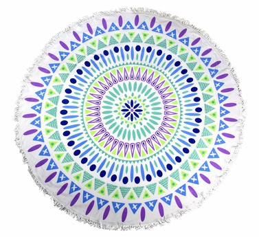 Roundie Beach Towel Yoga Mats Thick Terry Cotton with Fringe Tassels - Plum Navy
