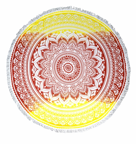 Roundie Beach Towel Yoga Mats Thick Terry Cotton with Fringe Tassels - Red Mandala