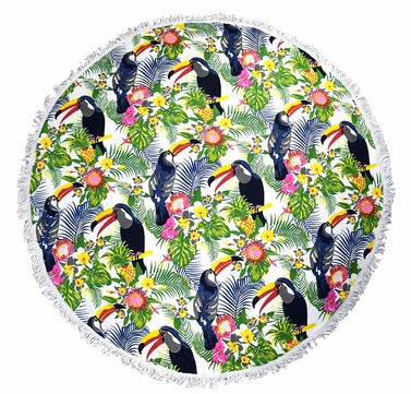 Roundie Beach Towel Yoga Mats Thick Terry Cotton with Fringe Tassels - Toucan