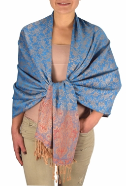 Royal Pashminas with Intricate Vine Paisley Design (Blue and Tan)