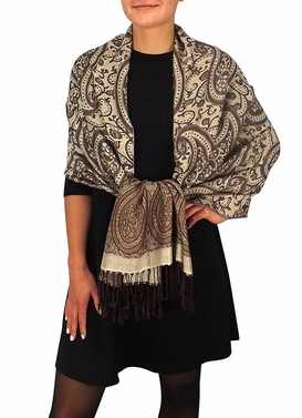 Royal Pashminas with Intricate Vine Paisley Design (Cream Brown)