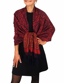 Royal Pashminas with Intricate Vine Paisley Design (Cranberry and Navy)