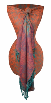 Royal Pashminas with Intricate Vine Paisley Design (Orange and Turquoise)