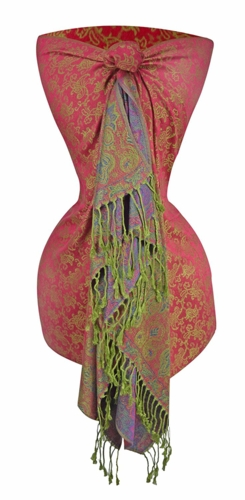 Royal Pashminas with Intricate Vine Paisley Design (Pink and Green)