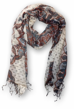 Russian Pattern All Over Print Design Scarf (White)