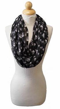 Sheer Black Mini Skulls Infinity Loop Scarf