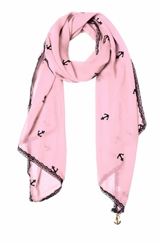 Sheer Vintage Anchor Embossed Scarf with Anchor Charm & Lace Border (Baby Pink)