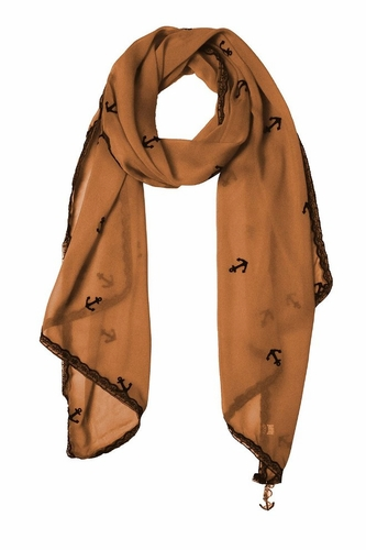 Sheer Vintage Anchor Embossed Scarf with Anchor Charm & Lace Border (Brown)