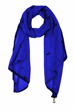 Sheer Vintage Anchor Embossed Scarf with Anchor Charm & Lace Border (Dark Blue)