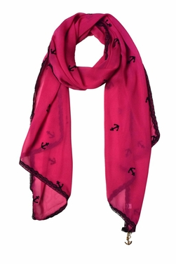 Sheer Vintage Anchor Embossed Scarf with Anchor Charm & Lace Border (Fuchsia)