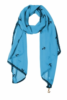 Sheer Vintage Anchor Embossed Scarf with Anchor Charm & Lace Border (Sky Blue)