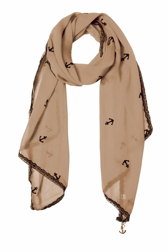 Sheer Vintage Anchor Embossed Scarf with Anchor Charm & Lace Border (Tan)