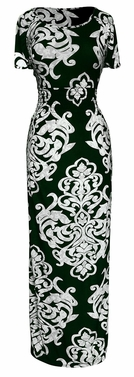 Short Sleeved Smocked Scoop Neck Damask Maxi Dress (Green)