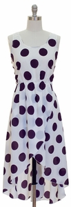 Silky High-Low Woven Wrap Polka Dot Dress