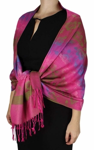 Silky Tropical Hawaiian Pansy Shawl Scarf Hot Pink