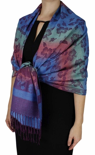 Silky Tropical Hawaiian Pansy Shawl Scarf Pastel
